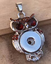 Brown Rhinestones Owl Snap Button Pendant Alloy for Snap Noosa Jewelry NEW!