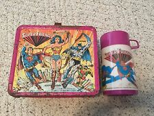 Aladdin 1976 Vintage DC Comics SuperFriends Metal Lunch Box w/ Thermos