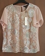 Lipsy Nude Sequined Applique Blouse Size 16 BNWT