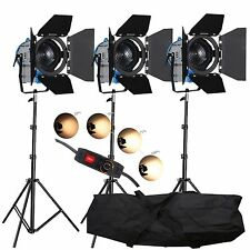 FSKIT500B 3 × 500W Pro Movie Fresnel Tungsten Spotlight Lighting Barndoor dimmer