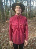 Vtg LL Bean USA Made Burgundy Red Chamois Cloth Flannel Shirt, MEDIUM /  Large