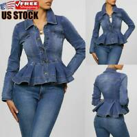 Women's Casual Denim Jacket Ladies Jeans Stretch Fitted Buttons Jackets Coat
