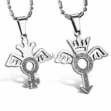 Matching Stainless Steel Crown Venus Mars Winged Gender Symbol Pendant Necklace