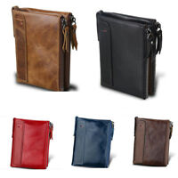 New Mens Luxurious 100% Genuine Bifold Leather Wallet With Zip Cash Coin Pocket