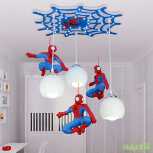 New Modern Creative Spiderman Pendant Lamp Children's Room LED Ceiling Lighting
