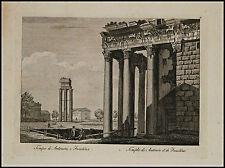 1818c.Inc/Rame.ROMA:Tempio di ANTONINO E FAUSTINA. par NIBBY - Parboni-Ruga.