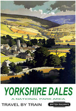 Art Ad Yorkshire Dales A National Park Area Travel by Train Rail  Poster Print