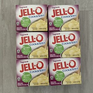 Jell-O, Cook & Serve, Tapioca Pudding & Pie Filling, 3oz Box (Pack of 6)