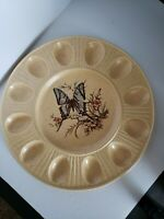 """Vintage Butterfly Treasure Craft Deviled Egg Plate, USA 12"""" across"""