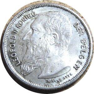 elf Belgium 2 Frank 1904 Leopold II  Silver