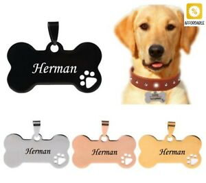 Custom Dog Tags Engraved Stainless Steel Pet ID Cat Tag Name Dog Bone Collar Tag