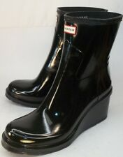 Hunter Wo's US 7 Original Refined Wedge-Sole Glossy Rubber rain Boots New $195