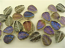 25 Crystal Iris Blue Luster Czech Glass Leaves 10mm x 8mm
