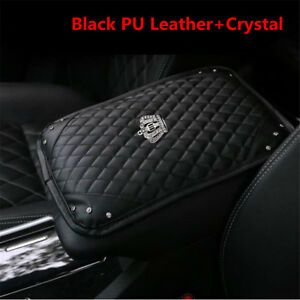 Bling Diamond Rhinestone Black Leather Car Accessories Armrest Box Rail Pad Mat