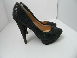Colin Stuart Black Leather Suede Platform High Heels Pumps - Size 8.5M