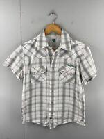 Twenty X Men's Short Sleeve Pearl Snap Button Shirt Size S Green Check