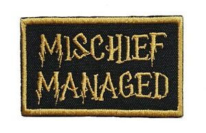"""Harry Potter Mischief Managed Embroidered Iron-on Patch 2.5"""" x 1.5"""" Hook & Loop"""