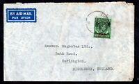 Malaya 1947 50c BMA Airmail KGVI cover to UK WS17170