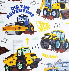 Kids Digger Wallpaper JCB Truck Boys Bedroom Collage White Yellow Brown Debona