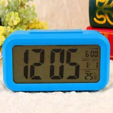 Snooze LED Digital Alarm Clock Thermometer Date Time Night Smart Light LCD Blue