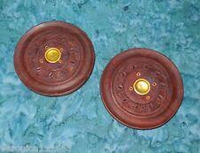 """New 2 Wood Incense Burner Plates Triskelion Triskel 4"""" carved 1 cone - 4 sticks"""