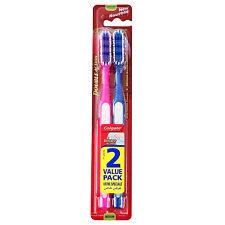 2 Pack Colgate Double Action Medium Toothbrushes Tongue Cleaner Deep Clean Gums