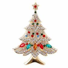 Vintage Colored Christmas Tree Rhinestone Brooch Pin Wedding Party Jewelry X1O6