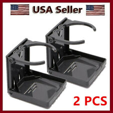 2Pcs Black Universal Folding Car Auto Beverage Drink Cup Holder Stand Cupholder