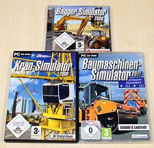 3 PC SPIELE SAMMLUNG - BAUMASCHINEN KRAN BAGGER SIMULATOR 2011 2008 2009