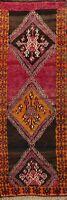 Vintage Tribal Geometric Lori Hand-Knotted Runner Rug Hallway Wool Carpet 4x11