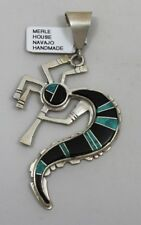 Navajo Indian Pendant Merle House Kokopelli Turquoise & Black Onyx Sterling Silv