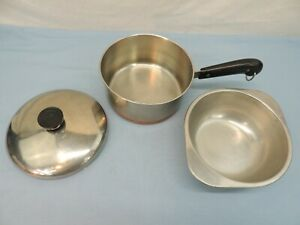 REVERE WARE STAINLESS STEAL COPPER CLAD BOTTOM POT DOUBLE BOILER LID 2 QUART