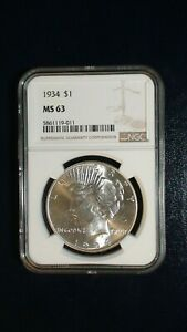 1934 P Peace Silver Dollar NGC MS63 UNCIRCULATED $1 Coin PRICED TO SELL!