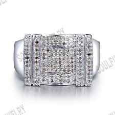 Pave Setting 1/2ct SI/H Diamonds Wedding Ring Men's Jewelry Gift Sterling Silver
