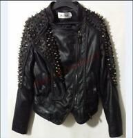 Women Punk cool Rivet studded Chic genuine leather Nightclub jacket coat Black