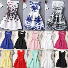 Damen Sommer Ärmellos Lässige Skaterklied Tunika Minikleid Abendkleid Partykleid