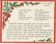 VINTAGE CHRISTMAS WHITE RED HOLLY BERRIES FRUIT CAKE CURRANTS RECIPE CARD PRINT