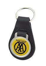 AA Round Black Leather Keyring