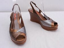 VIA SPIGA Womens 8.5 Gold & Silver Leather Platform Wedge High Heel Slingbacks