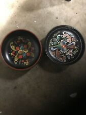 2 wooden Husfliden Norwegian Rosemaling Bowls Hand Painted Beautiful!