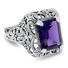3 Ct LAB AMETHYST ANTIQUE STYLE .925 STERLING SILVER FILIGREE RING SIZE 5,   #81