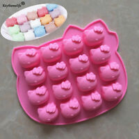 Hello Kitty 16 Grid Silicone Soap Mould DIY Cake Chocolate Tray Baking Mold