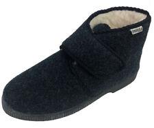 Pantofole invernali alte da uomo blu di lana con Strappo. Emanuela 564