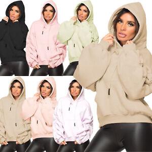 Womens Ruched Sleeve Fleece Hoodie Ladies Oversized Hooded Sweatshirt Jumper Top