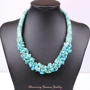 Handmade Stone Chip Bead Necklace Turquoise/Tiger's Eye/Lapis lazuli/Amethyst