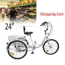 24inch 3-Wheel Unisex Adult Tricycle Trike Bicycle Cruise 7-Speed Basket White
