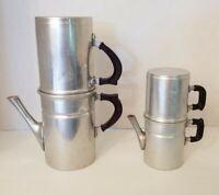 "2 - 1950s 3 pc Aluminum Stove Top Percolator Coffee Pots Italy 10"" & 6.5"""