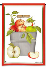 "Mary Lake Thompson Design Red & Green Apples in Pail 12.5""x18"" Fall Garden Flag"
