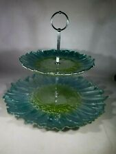 Beautiful Vintage 2 Tier Serving Dish Tray ~ Snacks Cookies Sandwiches