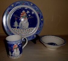 12pc Vintage EPOCH NORITAKE Mr Snowman Blue Dinnerware Plate Bowl Cup Christmas